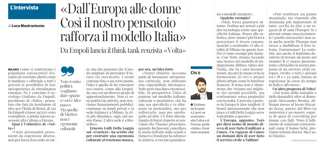 "Giuliano Da Empoli launches a progressive think-tank called ""Volta"""