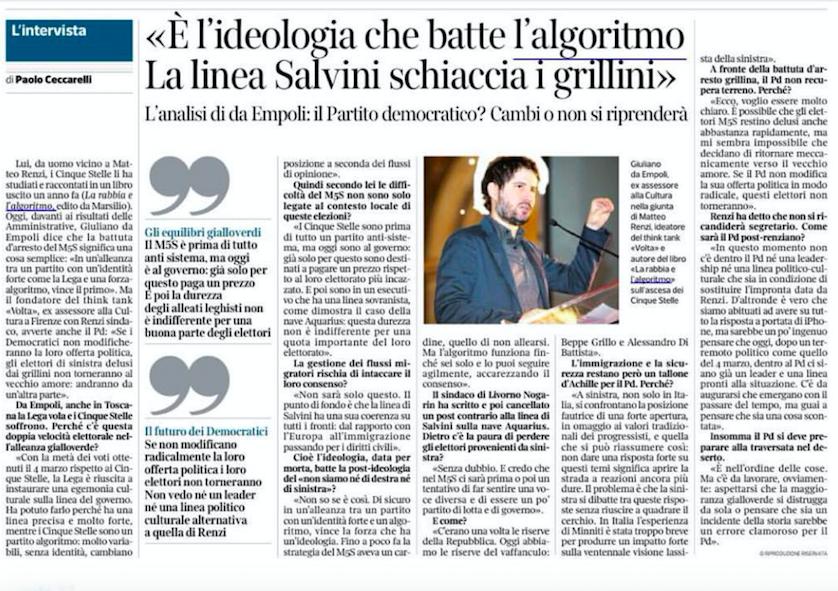 """""""E' l'ideologia che batte l'algoritmo. La linea Salvini schiaccia i grillini"""". L'intervista di Giuliano da Empoli per il Corriere della Sera"""